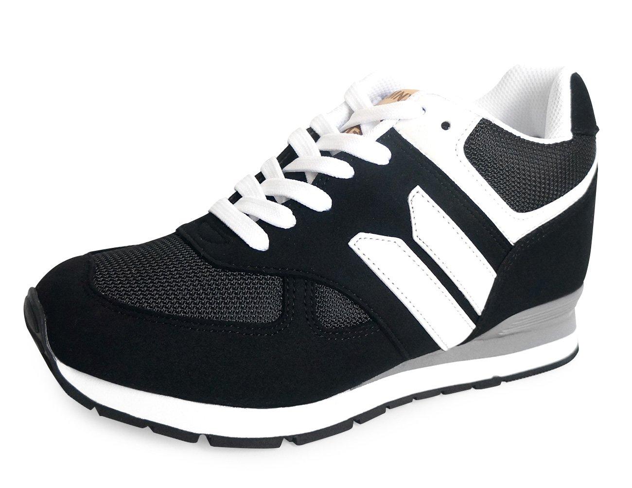 MNX15 Women's Elevator Shoes Height Increase 3.5'' ROBIN BLACK Wedge Sneakers High Heel Sneakers (6 D(M)US / 230mm(KOR), black)