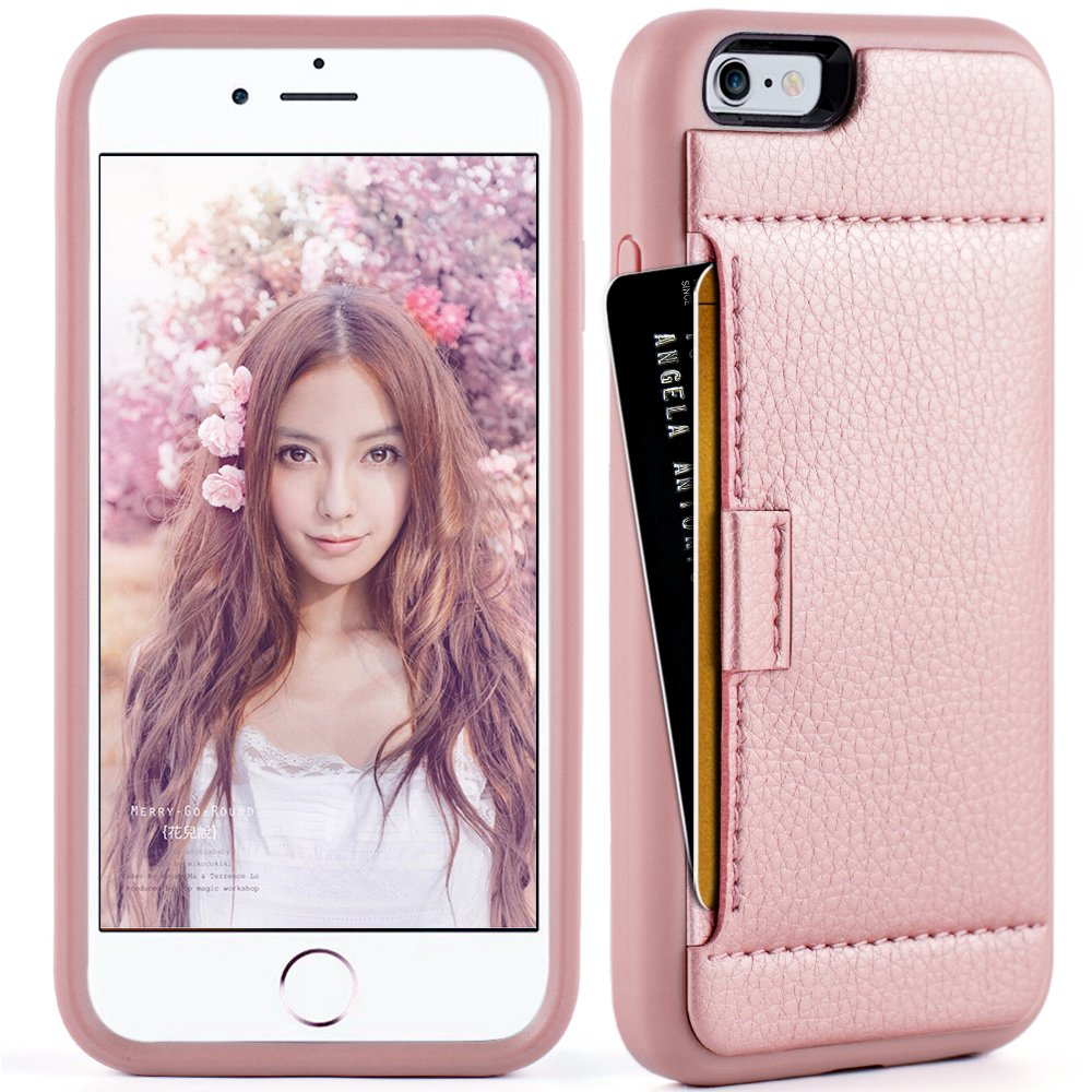 iphone 6 Wallet Case,iphone 6 case with card holder, ZVE iphone 6s case Slim with wallet Credit Card Holder Shockproof Protective hybrid Leather Case For Apple iPhone 6/6s 4.7 inch (Rose Gold) by ZVEdeng (Image #2)