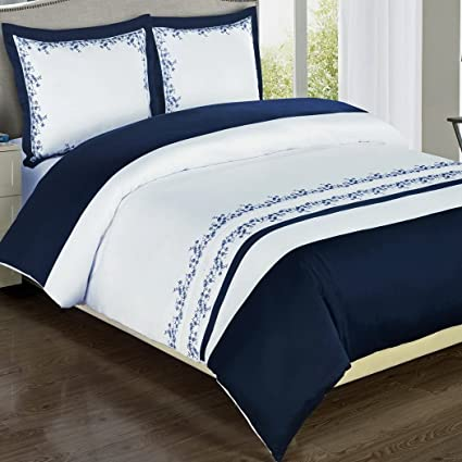 Amazon Com Duvet Cover Set Oversize King Cal King Navy Blue White