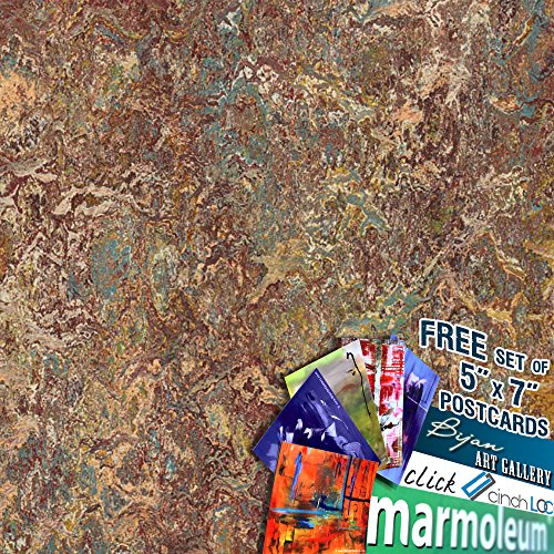 MARMOLEUM CLICK Cinch Loc 12''x12'' Tiles 1 BOX BUNDLED with Exclusive Bijan Art Gallery Postcards as a FREE Gift. [7panels/6.78 sq ft/Box] 333423 painters palette by Bijan Art Gallery