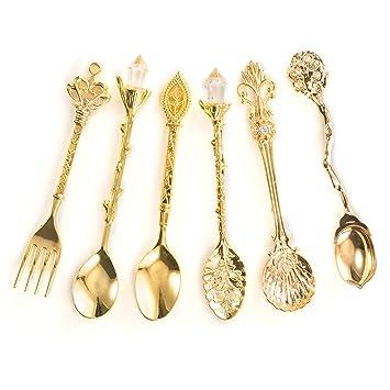 Cuchara Hivenets Bistro para café, té, helado frutas, tenedor de postre, juego de 6 utensilios de acero inoxidable 6 Sets dorado: Amazon.es: Hogar