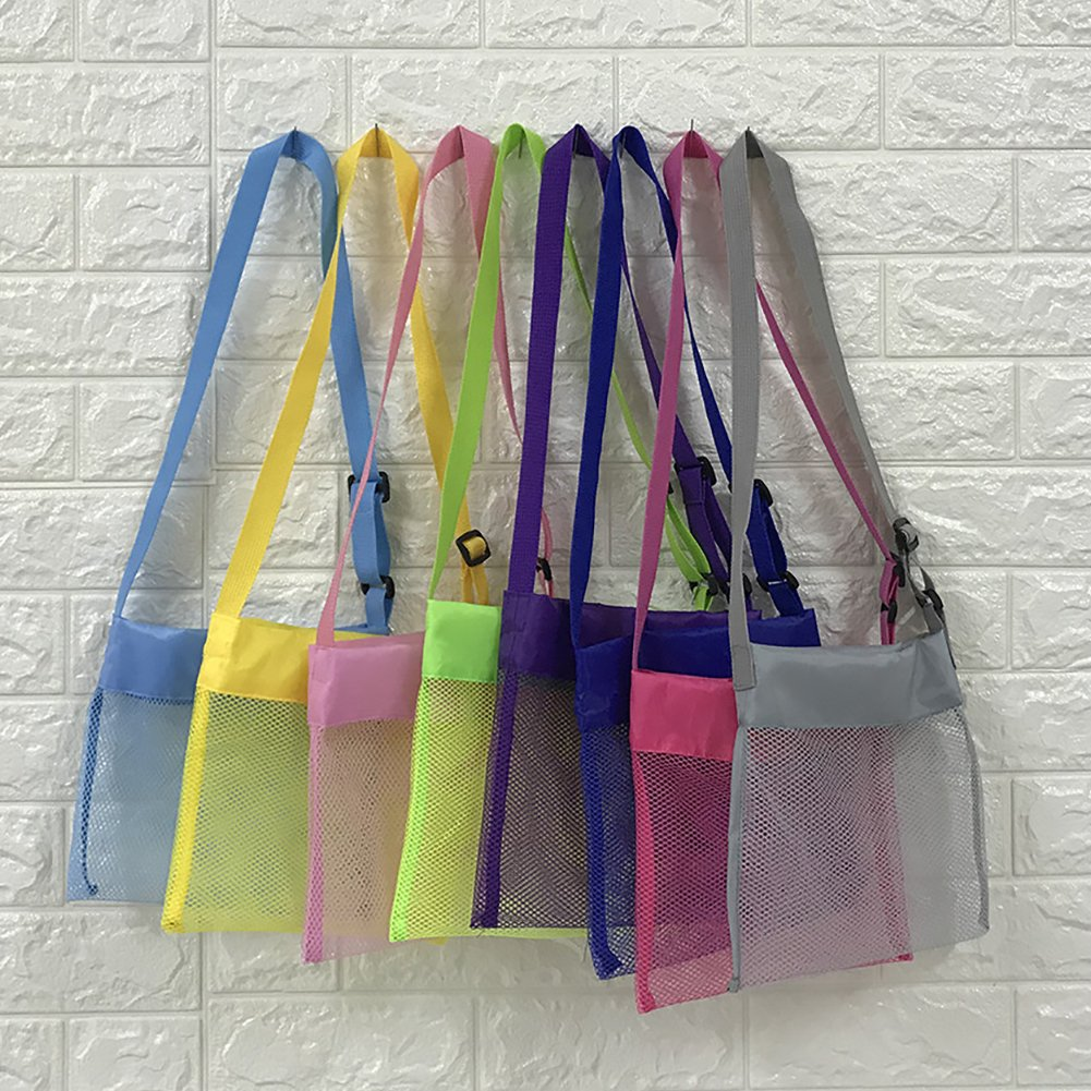 Peicees 4 Pack Beach Mesh Tote Seashell Bags Sand Away Adjustable Sea Shell Bag