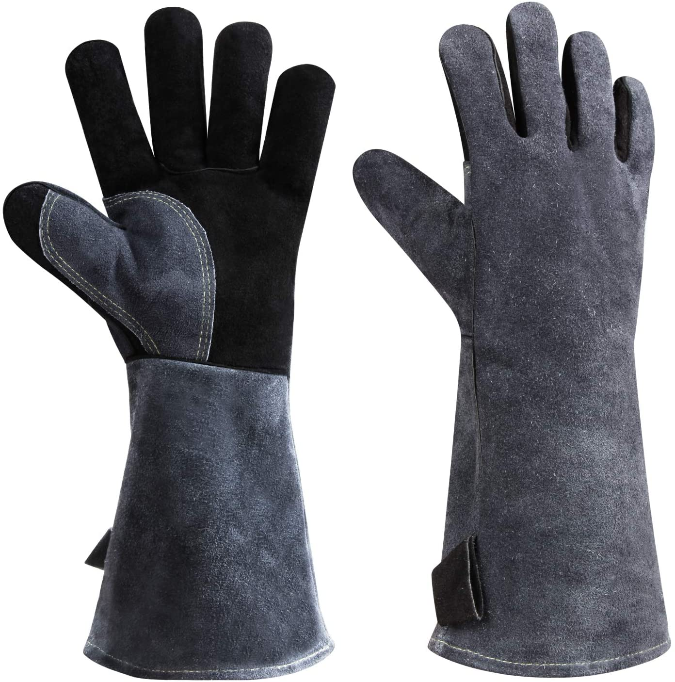 932 F Leather Heat Resistant Welding Gloves Grill Bbq Glove For Tig Welder Grilling Barbecue Oven Fireplace Wood Stove Long Sleeve And Insulated Cotton Black Gray 16 Inch Amazon Com