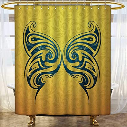 Tattoo Shower Curtains Sets Bathroom Blue Colored Tribal Designed Free Butterfly Symbol Of And Freedom Artwork