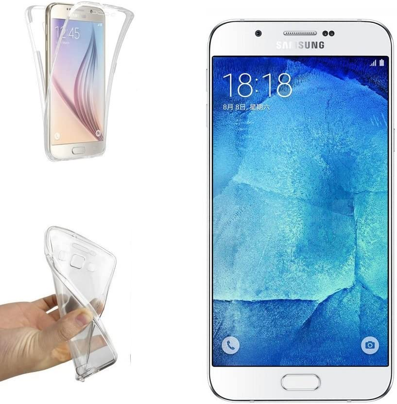 Ultra Fina 0,33mm Silicona TPU de Alta Resistencia y Flexibilidad REY Funda Carcasa Gel Transparente Doble 360/º para Samsung Galaxy A8 2016