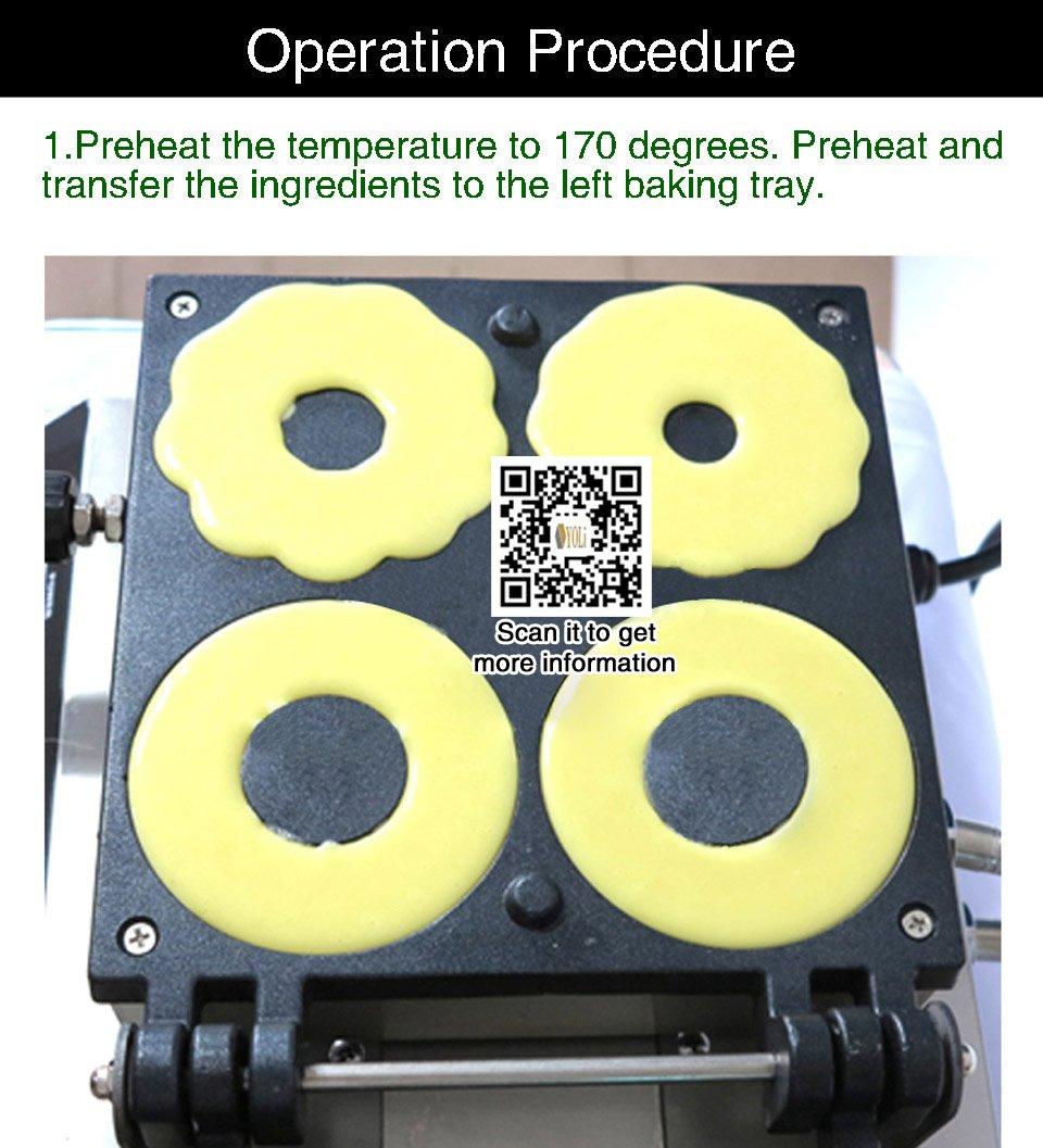 Yoli® 4 en 1 comercial Manual Máquina de Donut, Donut de Acero Inoxidable Eléctrica/freidora, cuatro moldes de formas con temperatura y Control de tiempo, ...