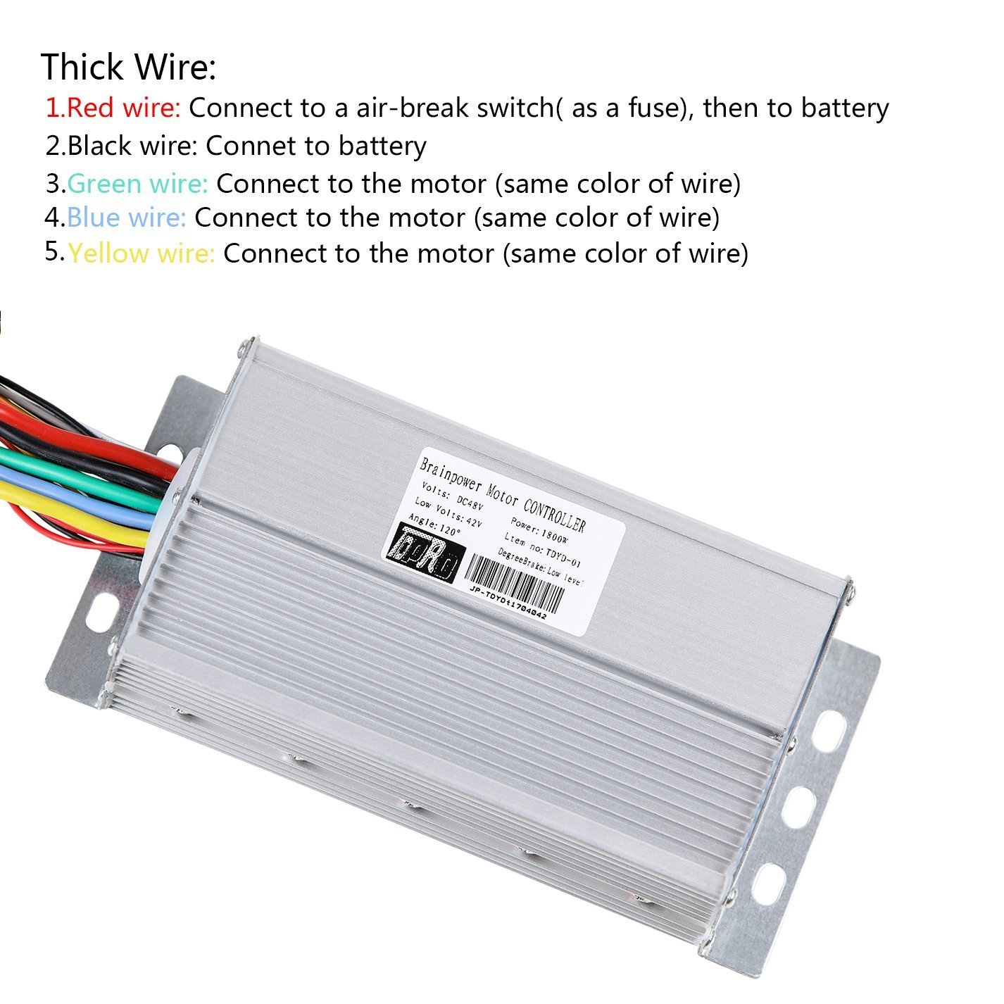 Zxtdr 48v 1800w Brushless Motor And Controller Throttle Wiring Diagram For Two Motors One Esc Recommended Grip Accelerator Pedal Set Electric Scooter Go Kart Bicycle E Bike Tricycle Moped