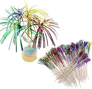 Foil Frill Firework Cupcake Picks Party Cake Toppers Food Picks, 200Pcs Metallic Foil Fireworks Cocktail Party Sticks Firework Cake Toppers, Sandwich & Cocktail Picks, Toothpicks