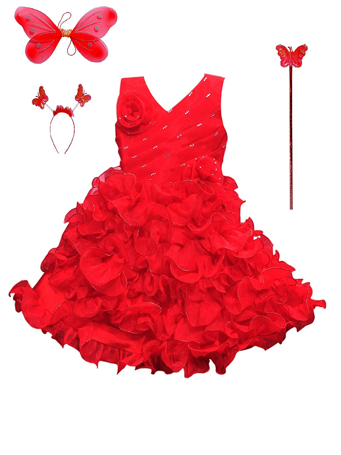 SRM Angel Pari Frock Red for Girls (6-6 Years): Amazon.in