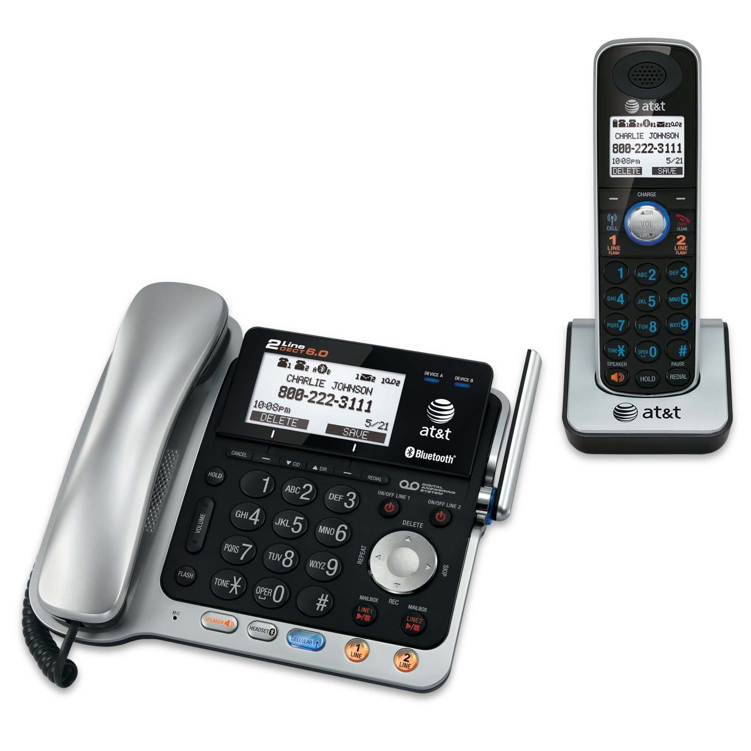 Amazon.com : ATu0026T TL86109 DECT 6.0 2 Line Expandable Corded/Cordless Phone  With Bluetooth Connect To Cell, Answering System And Base Speakerphone, ...