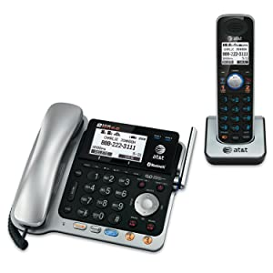 AT&T TL86109 DECT 6.0 2-Line Expandable Corded/Cordless Phone with Bluetooth Connect to Cell, Answering System and Base Speakerphone, 1 Corded Handset and 1 Cordless Handset, Silver/Black
