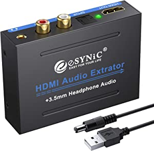 eSynic 1080P HDMI Audio Extractor HDMI to HDMI + Optical TOSLINK SPDIF + Analog RCA L/R +3.5mm Jack Stereo Audio Video Splitter Converter with Power ON/OFF Switch Support Full HD1080p 3D
