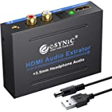eSynic HDMI Audio Extractor 1080P HDMI to HDMI Optical Toslink Spdif RCA / 3.5mm Stereo Audio Splitter Converter with Power Switch for TV Blu-ray DVD Player SKY HD Box PS3 PS4 Apple TV