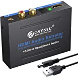 eSynic 1080P HDMI Audio Extractor Splitter HDMI to HDMI + Optical TOSLINK SPDIF + Analog RCA L / R + 3.5mm Stereo Audio…