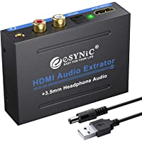 eSynic 1080P HDMI Audio Extractor HDMI to HDMI + Optical TOSLINK SPDIF + Analog RCA L/R +3.5mm Jack Stereo Audio Video…