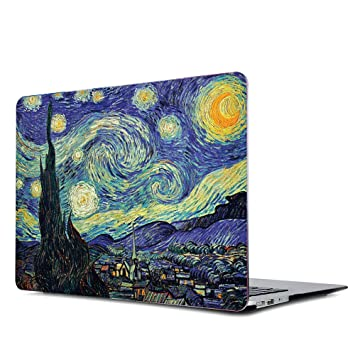 Onkuey Rubberized Plastic Case Hard Shell Cover for MacBook Air 13 Inch (Model: A1369 and A1466), Van Gogh