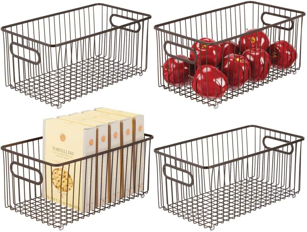 mDesign Metal Farmhouse Kitchen Pantry Food Storage Organizer Basket Bin - Wire Grid Design for Cabinets, Cupboards, Shelves, Countertops - Holds Potatoes, Onions, Fruit - 4 Pack - Bronze