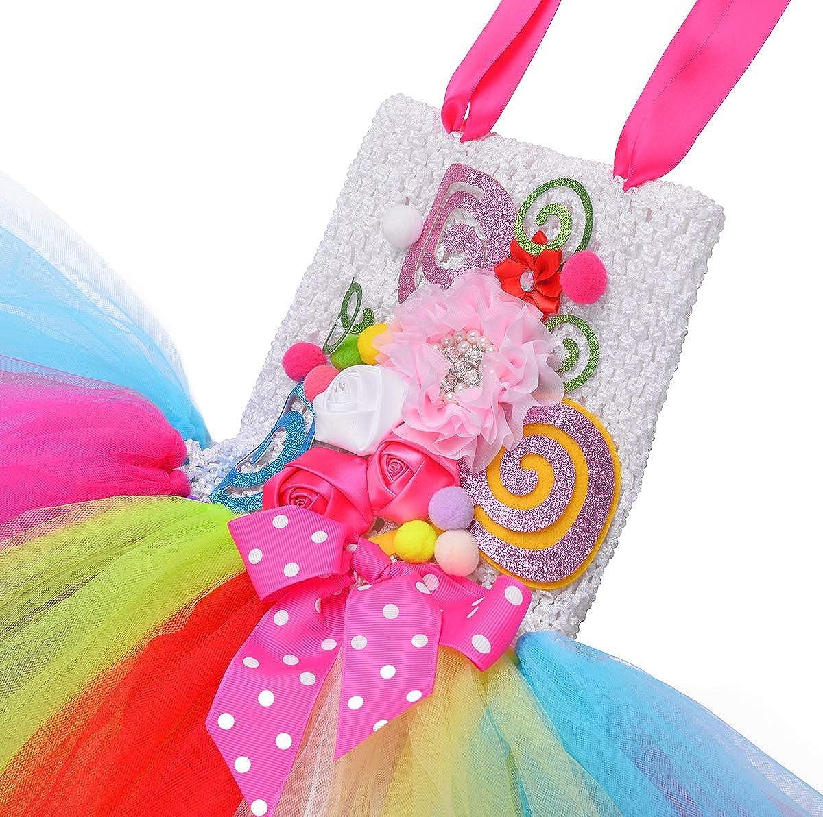 Tutu Dreams Rainbow Candy Costume for Girls with Lollipop Headband Birthday Gifts Tea Halloween Party