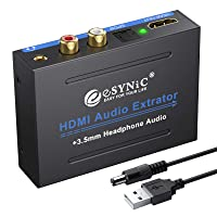 eSynic 1080P HDMI Audio Extractor HDMI to HDMI + Optical TOSLINK SPDIF + Analog...