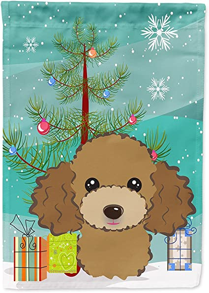 Amazon Com Caroline S Treasures Bb1628chf Christmas Tree And Chocolate Brown Poodle Flag Canvas House Size Large Multicolor Garden Outdoor
