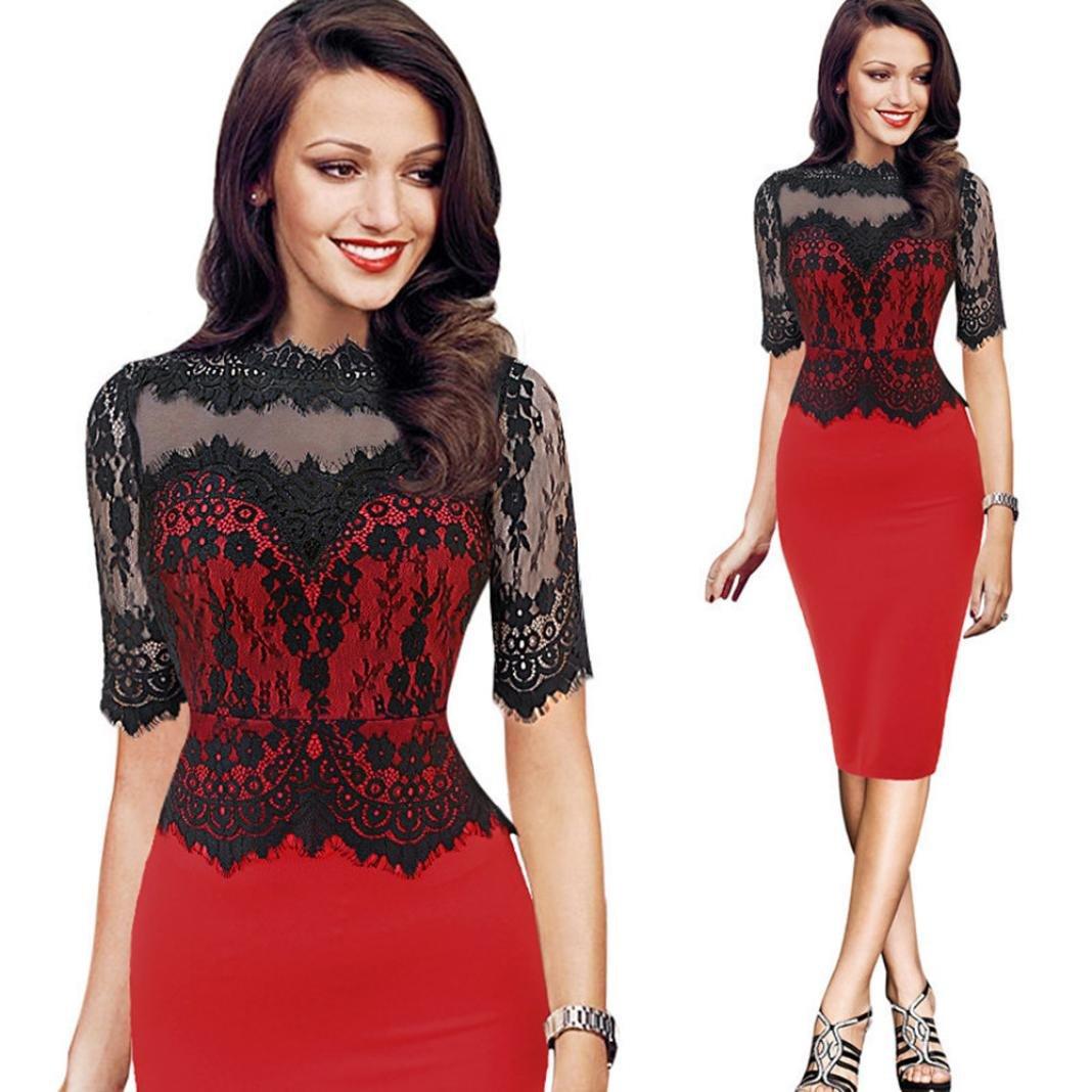 GoodLock Women Girls Fashion Dress Lady Female Vintage Lace Bodycon Pencil Evening Party Dress (Red, Asian Size:XL)