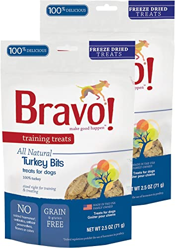 Bravo Bonus Bites All Natural Freeze Dried Turkey Bits Dog Treats – Grain Gluten Free – 2.5 Ounce Bags