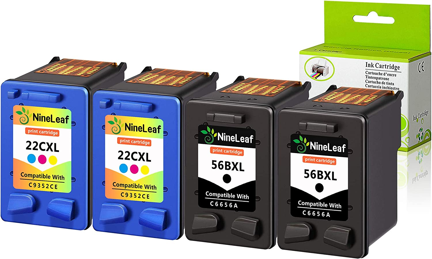 NineLeaf Remanufactured High Yield Ink Cartridge Compatible for HP 56 C6656AN 22 C9352AN Officejet 5610xi 5610v 5605 5607 5608 5609 5610 5615 5679 5680 All-in-One (2 Black 2 Color,4 Pack)