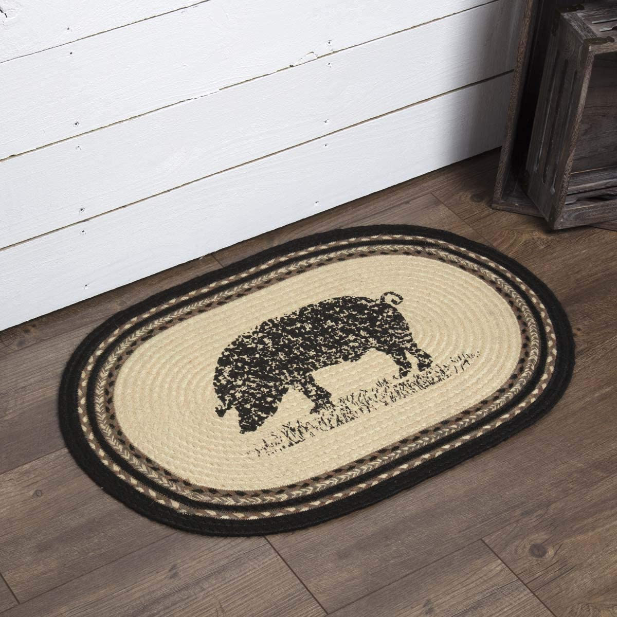 VHC Brands 38043 Farmhouse Flooring Miller Farm Charcoal Pig Jute Stenciled Nature Print Oval Rug, One Size, Bleached White
