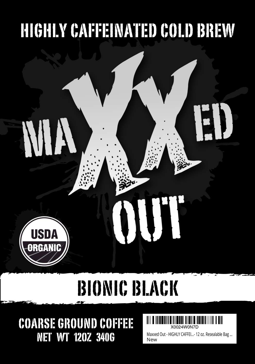 Bionic Black - Cold Brew Coffee - HIGHLY CAFFEINATED - USDA Organic - Coarse Ground - Maxxed Out - 12 oz. Resealable Bag