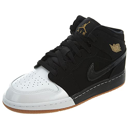 info for b3259 ed2f7 Nike Jordan Kid s Air 1 Mid GG, Black Metallic-White Black Size