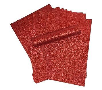 A4 papel con purpurina rojo brillante suave no cobertizo de grosor 150 g/m² Pack de 10 hojas de papel de navidad: Amazon.es: Juguetes y juegos