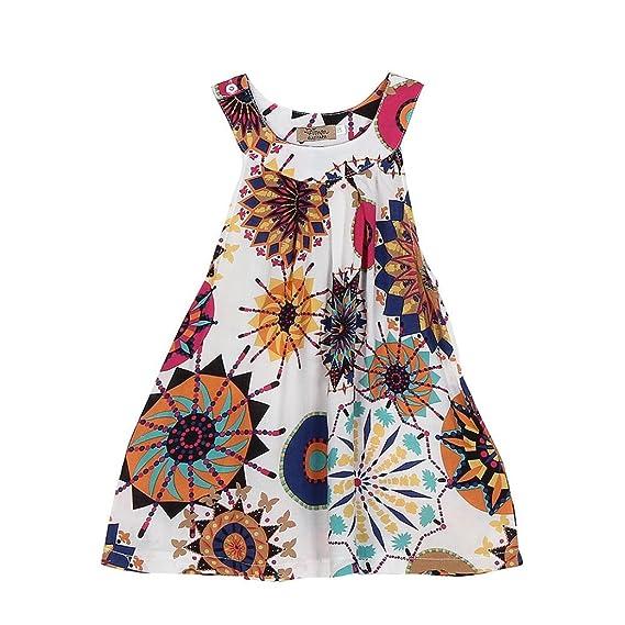 Vestido de niña, Xinan Bebé Niñas Sin Mangas Multicolor Impresión Vestidos (10Años, Blanco