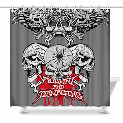 InterestPrint Cool Skull Tattoo Shower Curtain Home Decor Collection Bath Waterproof Fabric Bathroom