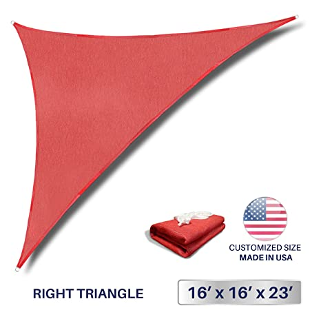 Windscreen4less 16 x 16 x 22.6 Triangle Sun Shade Sail – Solid Red Durable UV Shelter Canopy for Patio Outdoor Backyard – Custom 3 Year Warranty