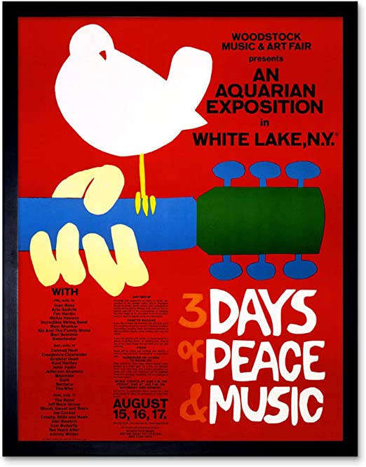 MUSIC FESTIVAL CONCERT WOODSTOCK NY PEACE DOVE LOVE LEGEND FRAMED PRINT B12X5655