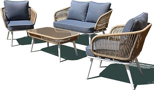 vizzoni - Juego de salón de jardín de Aluminio y Cuerda para sofá, 2 sillones y Mesa Vega: Amazon.es: Jardín