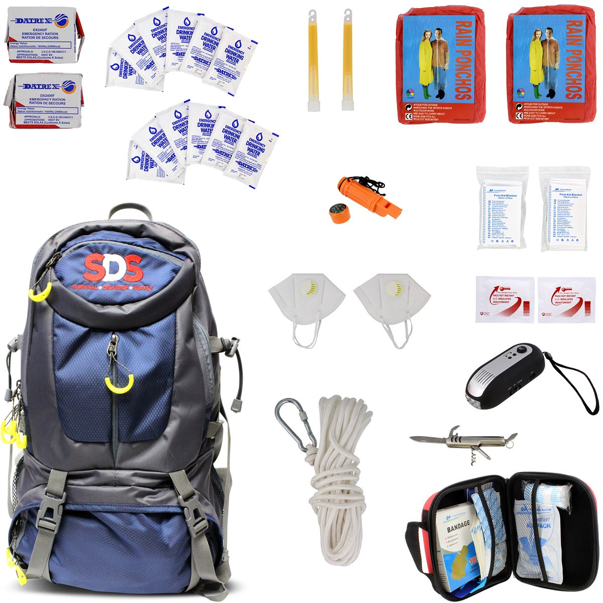 SDS | Survival Backpack Emergency Disaster Prepper Gear Bag Food Kit Earthquake, Zombie Apocalypse Supplies 2 Person 72 Hour by SDS
