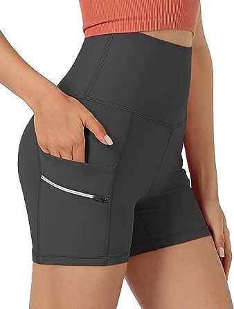 "ODODOS Women's Dual Pockets High Waisted 4"" Workout Shorts, Yoga Running Cycling Hiking Athletic Biker Shorts"