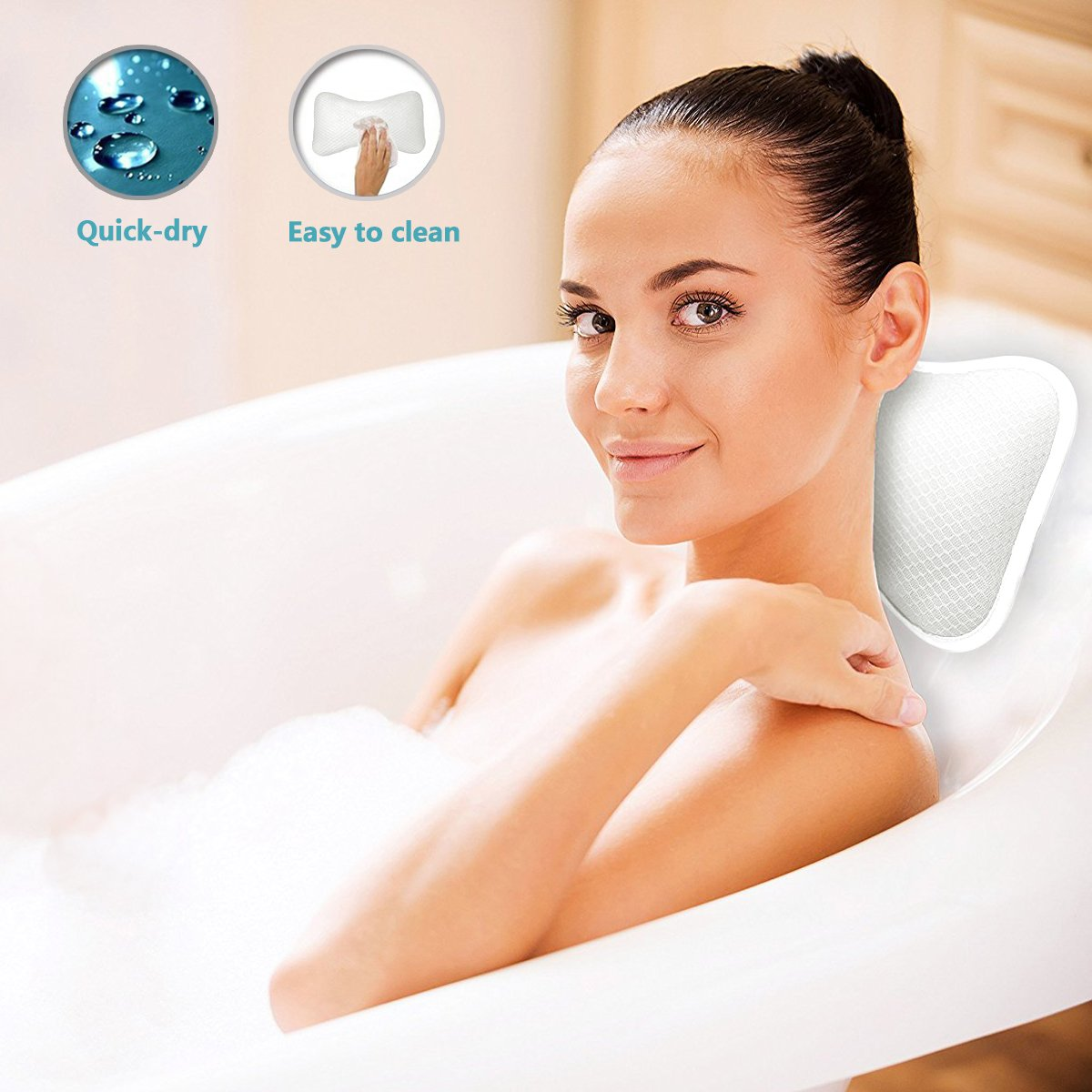 Quick Drying /& Anti Bacterial White Spa Bath Pillow for Neck Shoulder Support with Suction Cups Non Slip Bathtub Pillow for Comfort Relaxation
