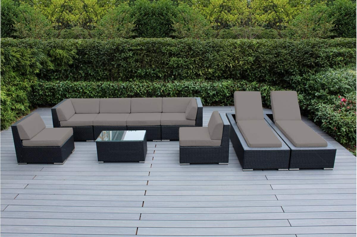 Genuine Ohana Outdoor Sectional Sofa and Chaise Lounge Set (9 Pc Set) with Free Patio Cover (Sunbrella Taupe)