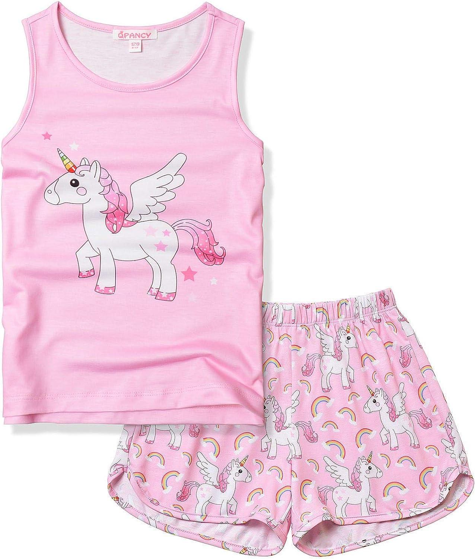 QPANCY Unicorn Pajamas for Girls Pj Sets Summer Sleeveless Sleep Shirts
