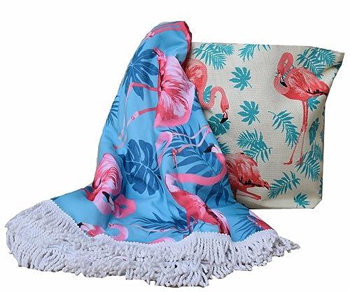 Forneret Bolso de playa tipo rafia+toalla redonda con flecos diseño flamencos de calidad verano 2018: Amazon.es: Zapatos y complementos
