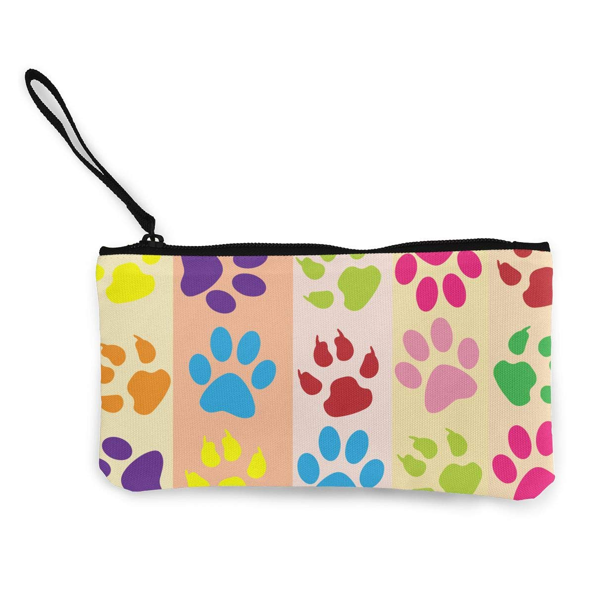 Print Paw Wallet Coin Purse Canvas Zipper Stationery Change Pouch For School