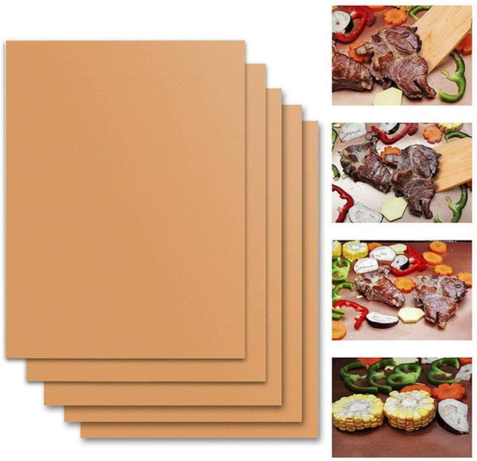 Miwaimao 1/2/3/5Pcs BBQ Grill Mat Barbecue Non-Stick Pad Reusable Cooking Plate Outdoor Baking for Party PTFE Grill Mat Tools,5Pcs Copper