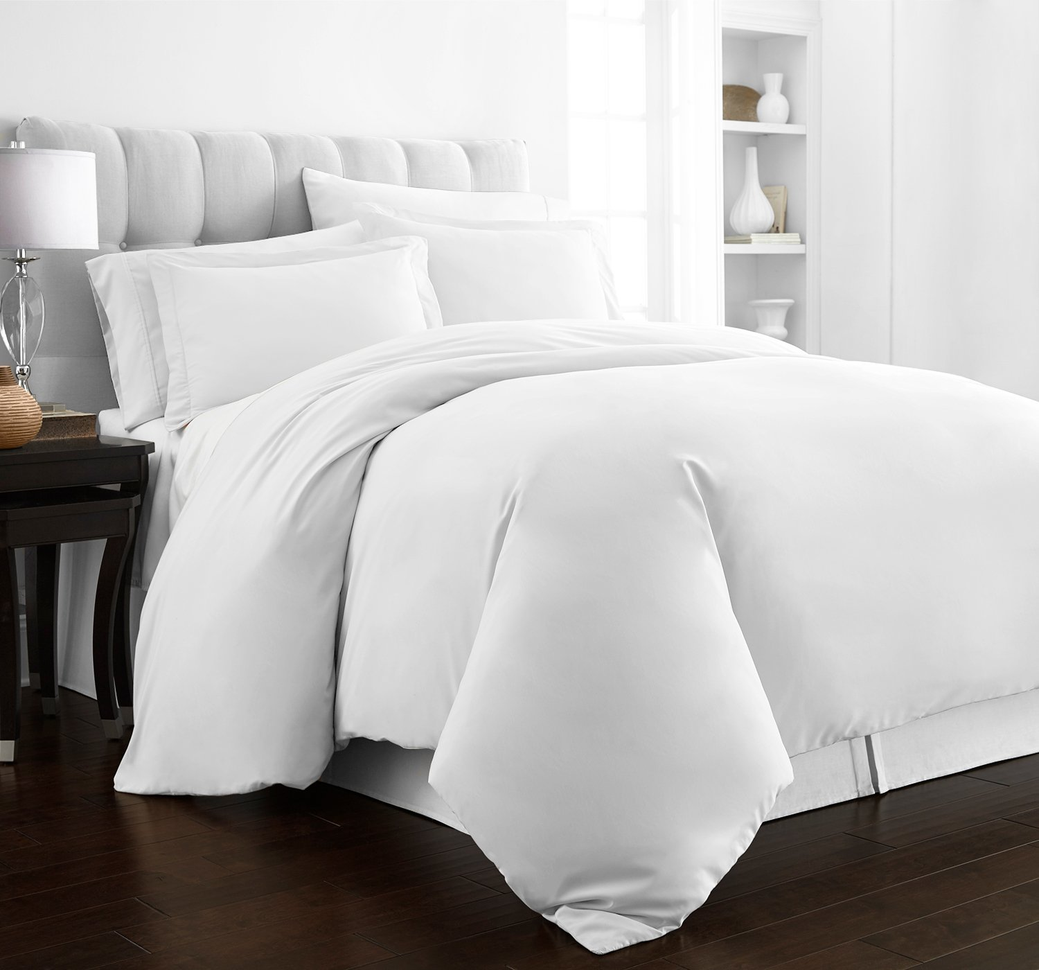 beckham hotel collection luxury soft brushed series microfiber duvet cover set king white