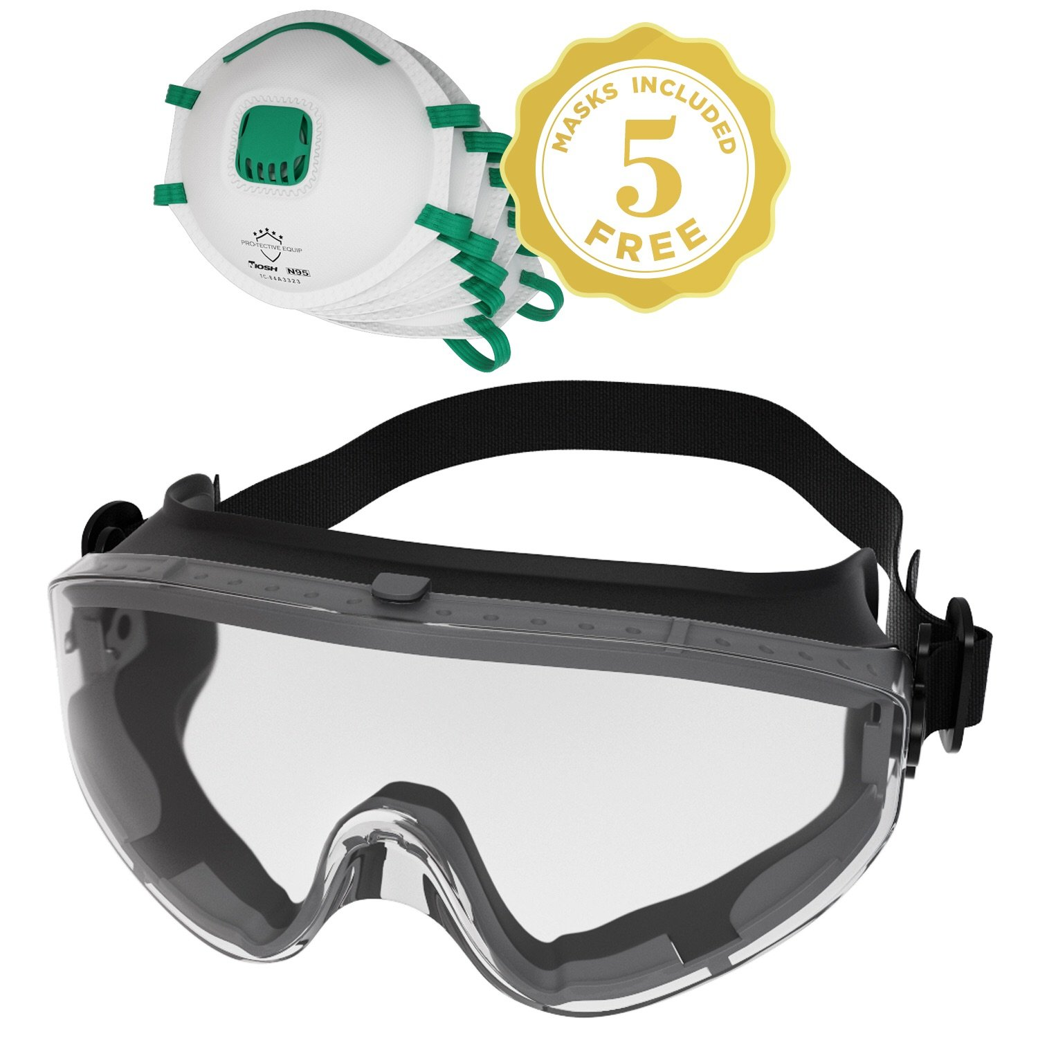 Safety Goggles Fits Over Prescription Glasses Clear Anti Fog Anti Scratch Impact Splash Proof For Workplace Chemistry Lab ANSI Z87.1 Approved Safety Masks With Respirator NIOSH N95 Included (Large) by PRO-TECTIVE EQUIP