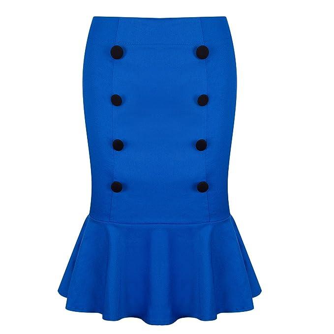 54e33adf016 Amazon.com  Pinup Fashion Women s Vintage Mermaid Skirt High Waist ...