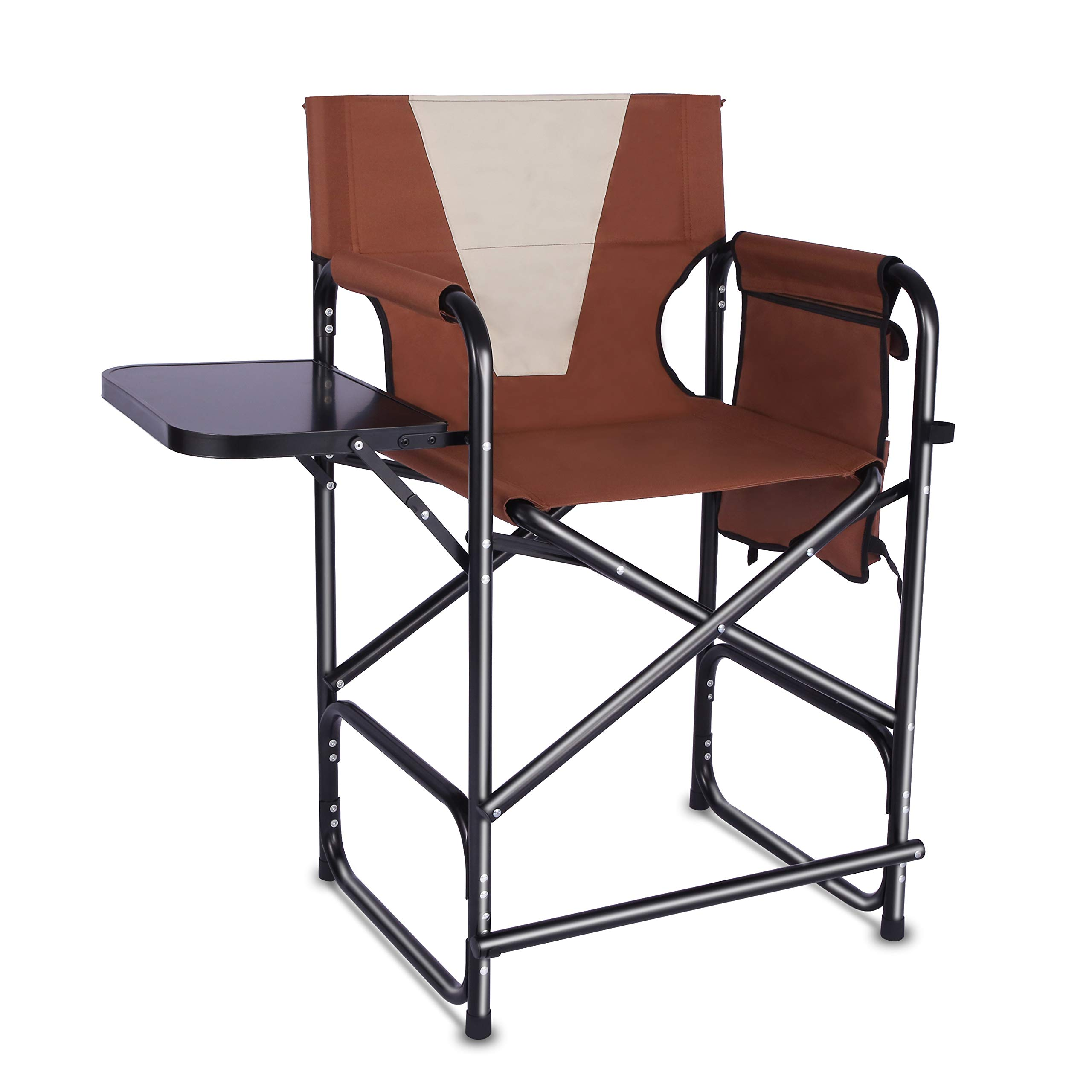 Tall Folding Directors Chair Portable Camping Chair Lightweight Aluminum Frame with Armrest Side Table, Storage Bag, Footrest-Supports 300lbs, 24'' Seat Height by Shaddock Fishing