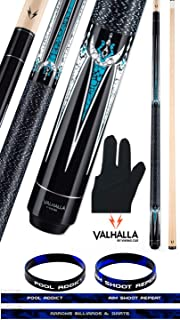product image for Valhalla VA602 by Viking 2 Piece Pool Cue Stick, Linen Wrap, 6 Full Color Point Transfers Turquoise, Nickel Silver Rings, High Impact Ferrule, 18-21 oz. Plus Billiard Glove & Bracelet
