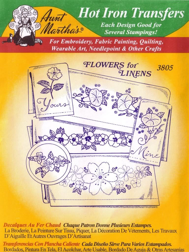 Flowers For Linens Aunt Martha's Hot Iron Embroidery Transfer Pattern 3805 fabric-trnsfr-env-3805-green